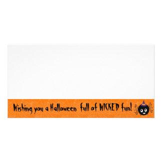 halloween spider witch photo card