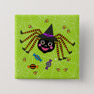 Halloween Spider Witch with Candy Square 15 Cm Square Badge