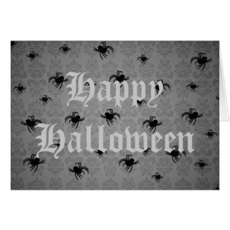 Halloween spiders on gray faded damask card