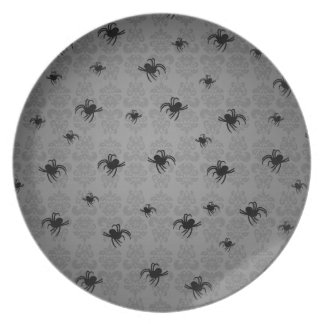 Halloween spiders on gray faded damask decor plate