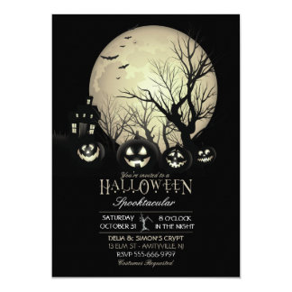 Halloween Spooky Dark Full Moon Jack O Lantern Card