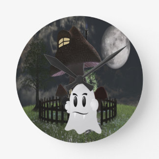 Halloween spooky ghost round clock