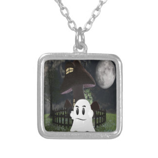 Halloween spooky ghost silver plated necklace