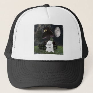 Halloween spooky ghost trucker hat