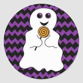 Halloween Spooky Ghost with Lollipop Classic Round Sticker
