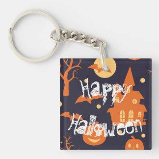 Halloween Spooky House Bats Trees Pumpkin Pattern Double-Sided Square Acrylic Key Ring
