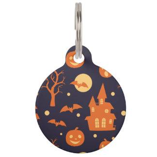 Halloween Spooky House Bats Trees Pumpkin Pattern Pet ID Tag