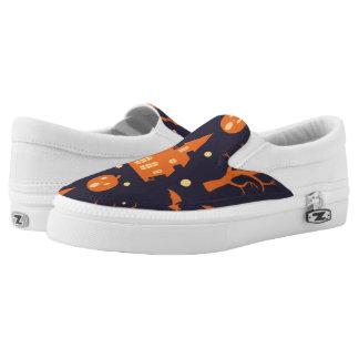 Halloween Spooky House Bats Trees Pumpkin Pattern Printed Shoes