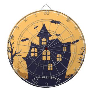Halloween Spooky Mansion and Bats Dartboard