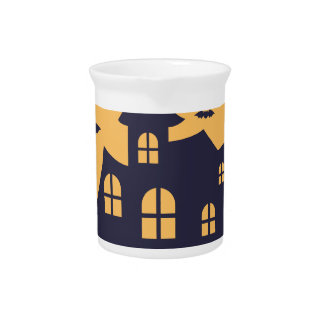 Halloween Spooky Mansion and Bats Pitcher