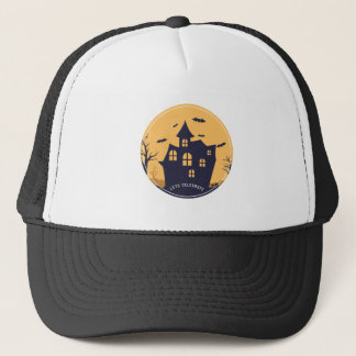 Halloween Spooky Mansion and Bats Trucker Hat