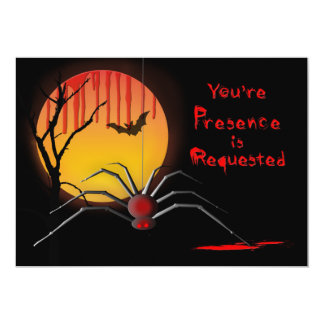 Halloween Spooky Party Invitation - Spider/Moon