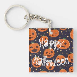 Halloween Spooky Pumpkin Pattern Jack O Lantern Double-Sided Square Acrylic Key Ring