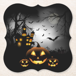 Halloween - Spooky Pumpkins Grey Moon - All Opt Paper Coaster