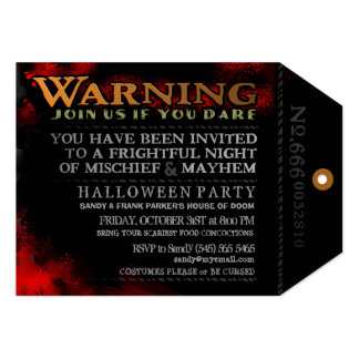 Halloween Spooky Warning Tag Invitation - Black
