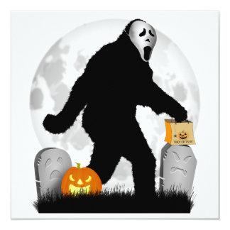 "Halloween Squatchin' (Add Background Color) 5.25"" Square Invitation Card"