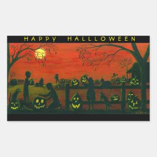 Halloween stickers,Jack-O-Lanterns,dog,black,cat Rectangular Sticker