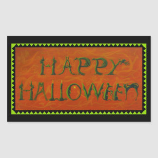 Halloween stickers,witch,black,cat,ghosts rectangular sticker