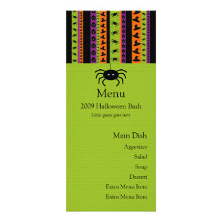 Halloween Stripes Spider Menu Card Personalized Rack Card