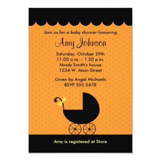 Halloween Stroller Baby Shower Invitations