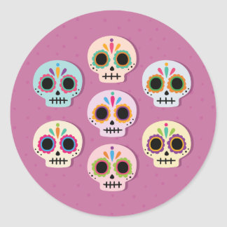 Halloween Sugar Skulls. Classic Round Sticker