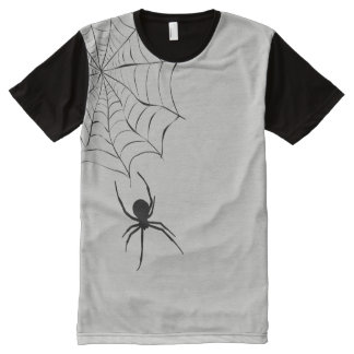 Halloween T-Shirt with Creepy Spider and Web