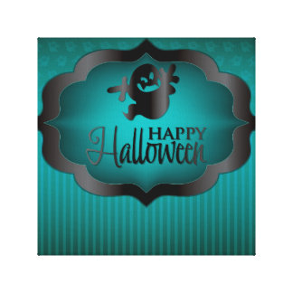 Halloween teal ghost canvas print