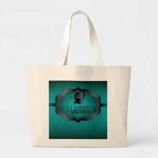 Halloween teal ghost large tote bag