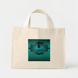 Halloween teal ghost mini tote bag