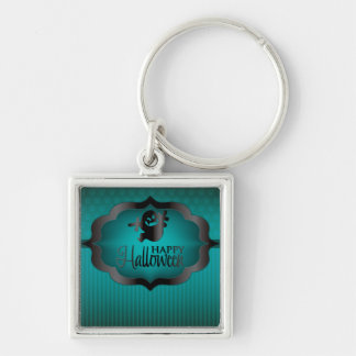 Halloween teal ghost Silver-Colored square key ring