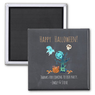 Halloween Thanks Ghosts Bats Skulls & Candy Square Magnet
