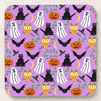 Halloween Theme Collage Toss Pattern Purple Beverage Coasters