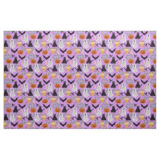 Halloween Theme Collage Toss Pattern Purple Cute Fabric