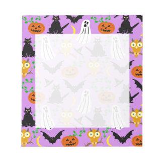 Halloween Theme Collage Toss Pattern Purple Notepad
