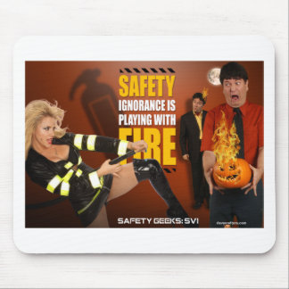 Halloween Theme Safety Geeks Funny Warning Mousepads