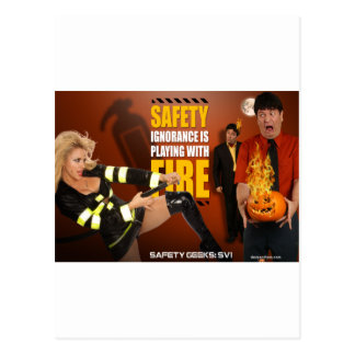 Halloween Theme Safety Geeks Funny Warning Post Cards