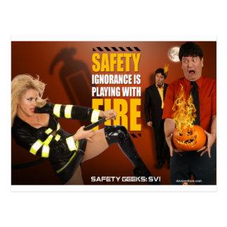 Halloween Theme Safety Geeks Funny Warning Postcard