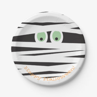 Halloween Themed Plates | Mummy Design 7 Inch Paper Plate