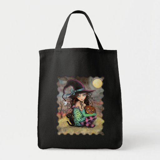 Halloween Tote Bag Witch and Black Cat