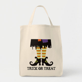 Halloween Tote Bag with Witches Legs