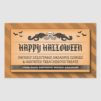 Halloween Treat or Drink Black Orange Label Rectangle Stickers