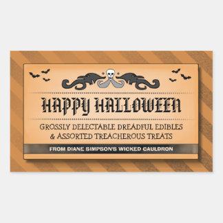 Halloween Treat or Drink Black Orange Label Rectangle Stickers