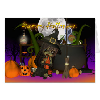 Halloween trendy Witch holding Crystal ball, ghost Greeting Card