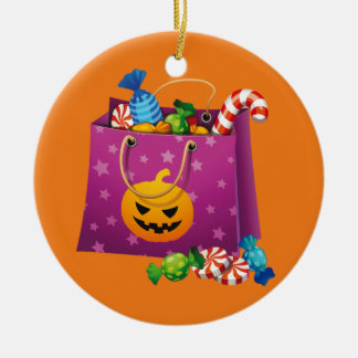 Halloween trick or treat candy ceramic ornament