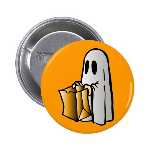 Halloween Trick or Treat Candy Ghost Pinback Buttons