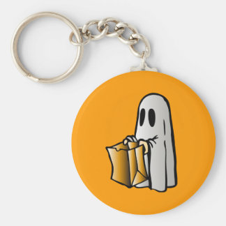 Halloween Trick or Treat Candy Ghost Basic Round Button Key Ring