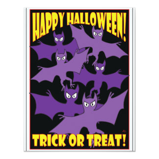 HALLOWEEN TRICK OR TREAT CARDS -2 11 CM X 14 CM INVITATION CARD