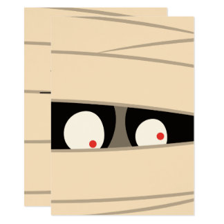 Halloween Trick or Treat Cute Mummy Squiggly Eyes Card