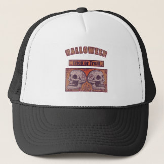 Halloween -Trick Or Treat Faded Pumpkin Orange Trucker Hat