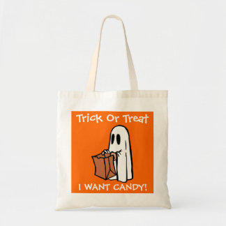 Halloween Trick Or Treat I Want Candy Ghost Canvas Bags